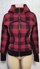 LULULEMON Scuba Hoodie II Lumberjack Camp Check Red Black Sweatshirt Jacket sz 4