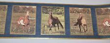 Seabrook Designs HORSES Pane Design BLUE Wallpaper Border 5 Yards - NEW