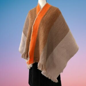 Vintage 1960s 1970s Wool Felted PERMANOS Unisex One Size Mod Poncho