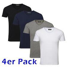 JACK & JONES 4er Lot T-shirt pour hommes Basic Col en V S/s Noos, Unicolore