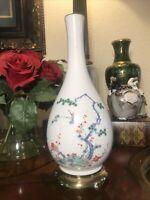 VintageChinese/Japanese Bottle Neck Vase Birds Of Paradise Garden Scene Signed