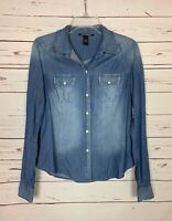 Lucky Brand Women's S Small Blue Denim Snap Long Sleeve Spring Shirt Top Blouse