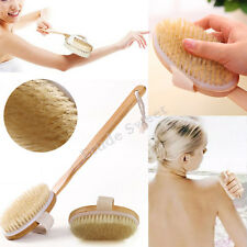 Bath Body Brush back Scrubber Long Handle Reach Shower Bristle Spa Bathroom UK