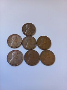 vintage amarican 1 cent lincolon  lot of 7coins between 1964-1979