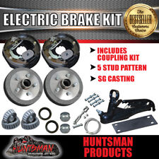 "10"" 5 Stud Trailer Electric Drum Brake & Coupling Kit. S.G Cast Drums Caravan"