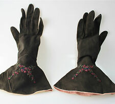 Vintage Victorian beaded leather gloves France brown pink French Gant Chanut