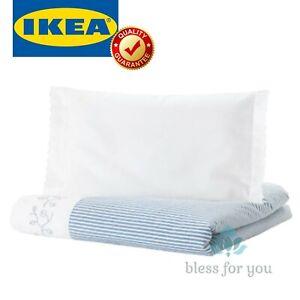 "IKEA GULSPARV Comforter Cover Pillowcase Crib Stripe Blue 43x49/14x22 """