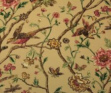 "THIBAUT AVIARY BEIGE D4139 BIRD PINK FLORAL LINEN LUXURY FABRIC BY YARD 54""W"