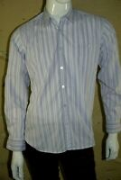 DEVRED Taille M Superbe chemise manches longues homme blanc rayures mauves
