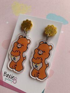 Orange Care Bear Style Dangle Earrings, Surgical Steel Stud, Glitter Acrylic