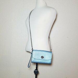 Coach Leather Crossbody Metallic Blue Silver Chain Bag Detectable Wristlet