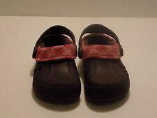 Girl's Crocs Blitzen Brown Pink Plaid Lined Clogs US Size C 6/7