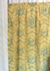 "1 Waverly Curtain Panel Custom Made Petite Ferme Toile Yellow Green 53.5"" X 88"""