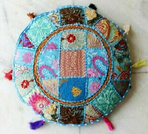 """Indian Ethnic Patchwork Embroidered ROUND FLOOR CUSHION POUF COVER Footstool 18"""""""