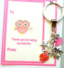 Thank you Gift Teacher at End of Term On Gift card Key Ring +Charms
