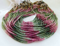 """12.5"""" AAA WATERMELON TOURMALINE micro faceted gem stone rondelle beads 2.8mm"""