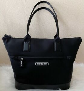 Michael Kors Sport Taping Black Medium Tote Bag Nylon Top Zipper NWT Free Ship