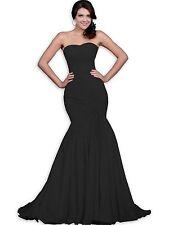 *Mermaid/Trumpet Chiffon Sweetheart Strapless Sweep Prom Dresses Black 4P USA