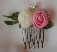 Blush Rose Clair Bleu Marine Rose Berry Fleur Cheveux Peigne Demoiselle d/'honneur mariée 3570