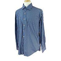 Peter Millar Mens Button Front Long Sleeve 100% Cotton Blue Brown Check Shirt XL