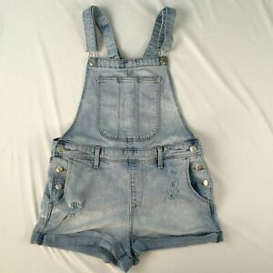 """OLD NAVY overall shorts WOMENS M light wash denim 2"""" inseam cuffed distressed"""