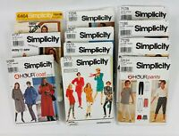 Lot of 12 Vintage Sewing Patterns, Simplicity, 70's to 90's, UNCUT/FF Multi-size