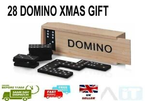 Domino's Wooden Box Set Classic Traditional Toy Domino 28 Pieces Kids Xmas GIFT
