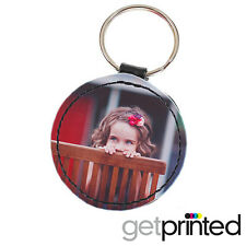 Personalised Keyring Circle PU Leather Custom Photo Create Your Own Design Gift