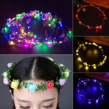 Women Wedding LED Flower Hair Garland Crown Headband Floral Wreath Hairband 1PCS
