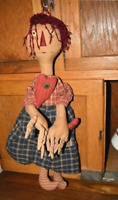 Primitive Prim Folk Art Raggedy Ann doll Get the Shuck Outta here OOAK handmade