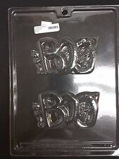 "Halloween Plaque ""BOO""  Chocolate Plastic Candy Mold LOP H-16, 4.75""x2.5""x3/8"""