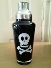 Black Stainless Steel Cocktail Shaker with white skull and crossbones