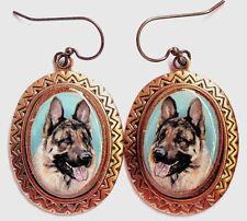 German Shepherd Dog original art earrings