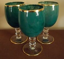 Three Cristallerie Italiane Water Goblets Hand Made 24 Kt Gold Trim