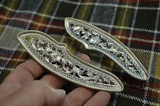 FANCY Fleming Sterling Silver Floral Filigree Cut SADDLE TRIM PLATES *Rope Edge*