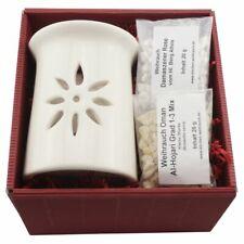 Geschenkset Räucherstövchen Keramik STERNENBLUME mit Metallsieb u. Metallscheibe