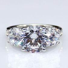 Moissanite Ring 3.2 ct Round Cut Near White Engagement Ring in 14k White Gold Fn