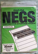 CLEAR FILE NEGATIVE PROTECTIVE Archival 35mm STORAGE PAGES 7 strips of 5 frames