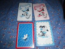 a6. 4 Vintage Swap Playing Cards  Blank Backs   Dogs Sombreros Telephone Duck