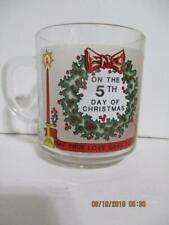 """Luminarc ON THE 5TH DAY OF CHRISTMAS """"Twelve Days of Christmas"""" Glass Coffee Cup"""