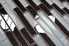 Mosaïque acier inoxydable argent verre cristal blanc clair 86-0102_b   1 plaque