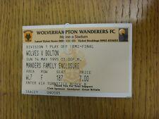 14/05/1995 BIGLIETTO: play-off semi-finale Divisione 1, Wolverhampton Wanderers V BOL