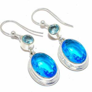 """Blue Topaz 925 Sterling Silver Jewelry Earring 2.1"""" M1462"""