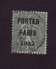 Préoblitéré N°31 15 c semeuse poste Paris 1922