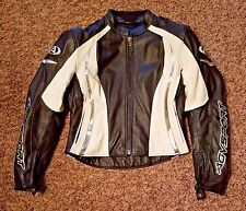 AGV SPORT BLACK AND WHITE WOMENS LEATHER JACKET SIZE MED.
