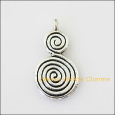 6Pcs Antiqued Silver Tone Number 8 Rotate Charms Pendants 14x27mm