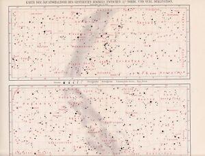 Sternenkarte Äquatorialzone Sterne Sternhaufen LITHOGRAPHIE von 1898 ASTRONOMIE