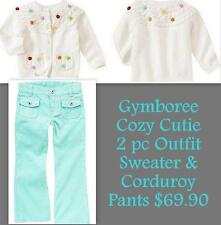 Gymboree Cozy Cutie Blue Corduroy Pants (3) & White Pom Pom Cardigan Sweater (3T