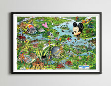 Vintage 1990 Disney World Resort Map Poster! (up to 24 x 36) - Magic Kingdom