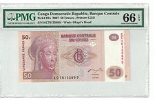 BANK of CONGO DEMECRATIC REP. 50 FRANCS 2007 PICK# 97a  PMG 66 EPQ (#782)